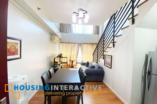 FULLY FURNISHED 1-BEDROOM LOFT UNIT WITH BALCONY FOR RENT IN ETON RESIDENCES